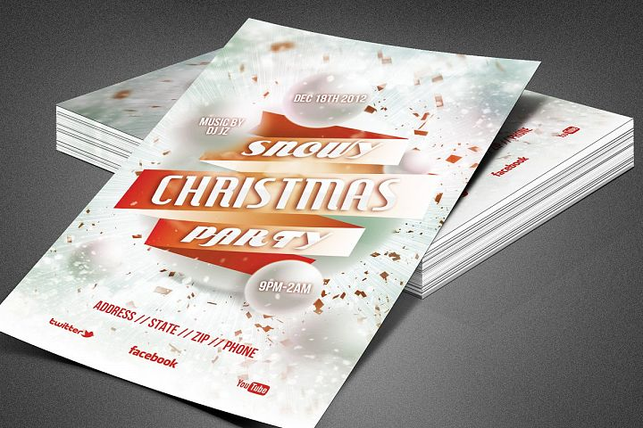 Snowy Christmas Party Flyer Template