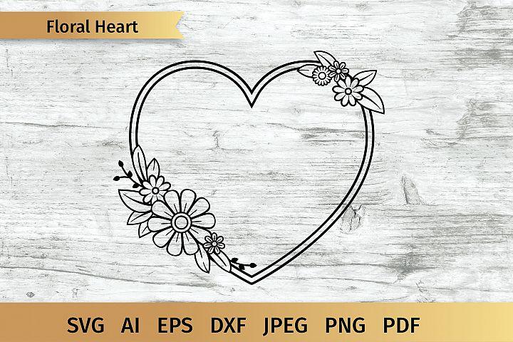 Floral Heart, Heart Monogram SVG