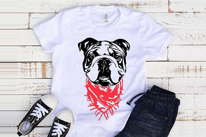 Bulldog Whit Scarf SVG Head French Dog 4th July 1268S