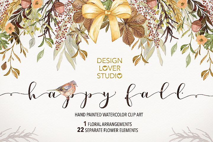 Watercolor Happy Fall clip arts