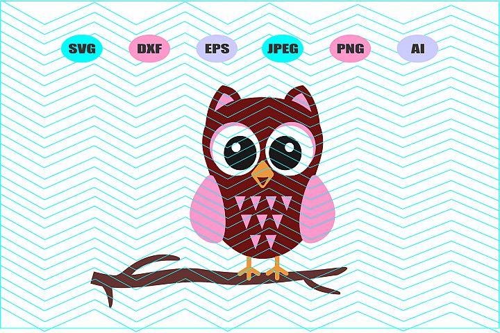 Owl on Branch Svg Vector File Silhouette Cricut Design Vinyl