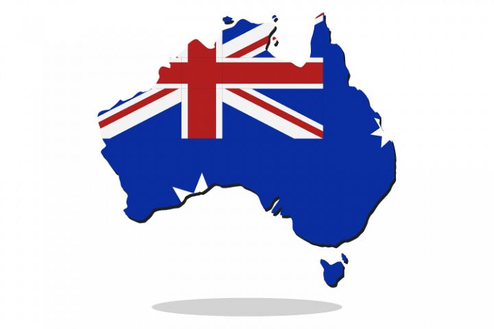Australia map with flag