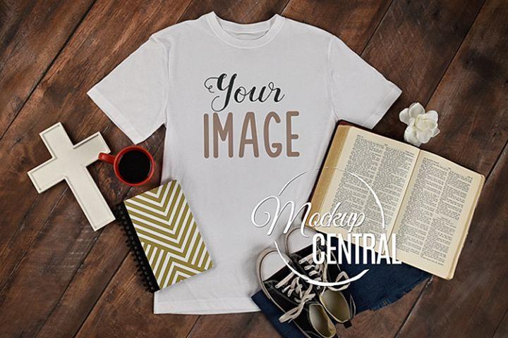 Religious Bible Christian T-Shirt Apparel Shirt Mockup JPG