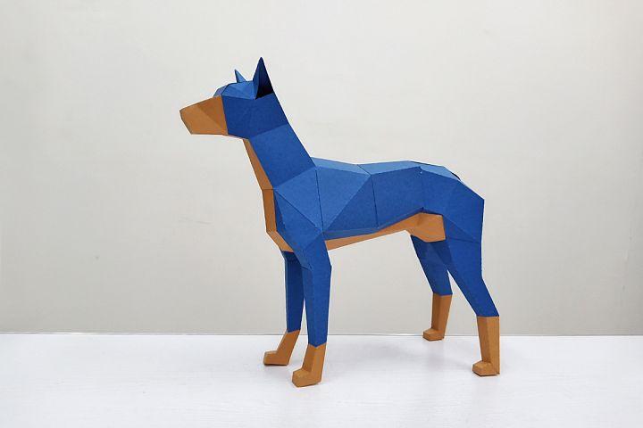 DIY Doberman sculpture,DIY Papercraft Doberman,3d Papercraft