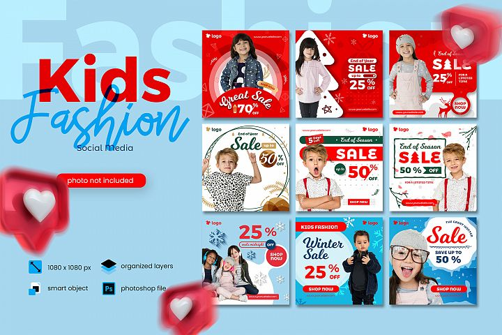 Kids Fashion Winter Sale Social Media Post template
