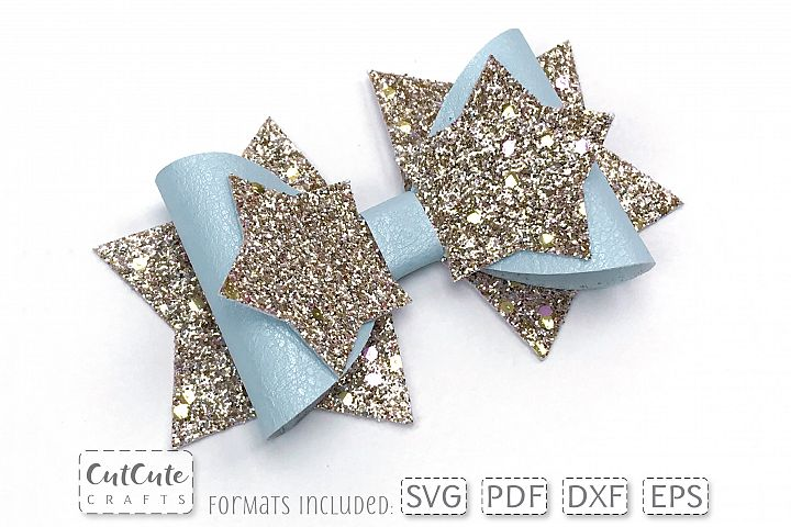 Stars Bow SVG cut files for faux leather, felt or paper