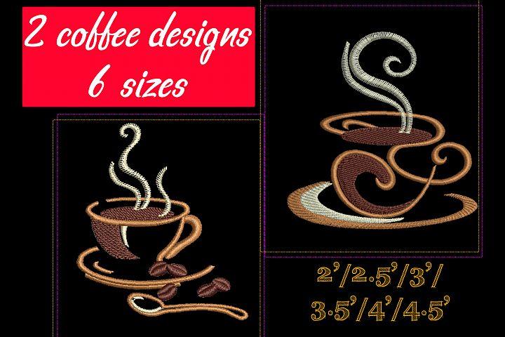 Coffee set - machine embroidery designs. 2 designs, 6 sizes