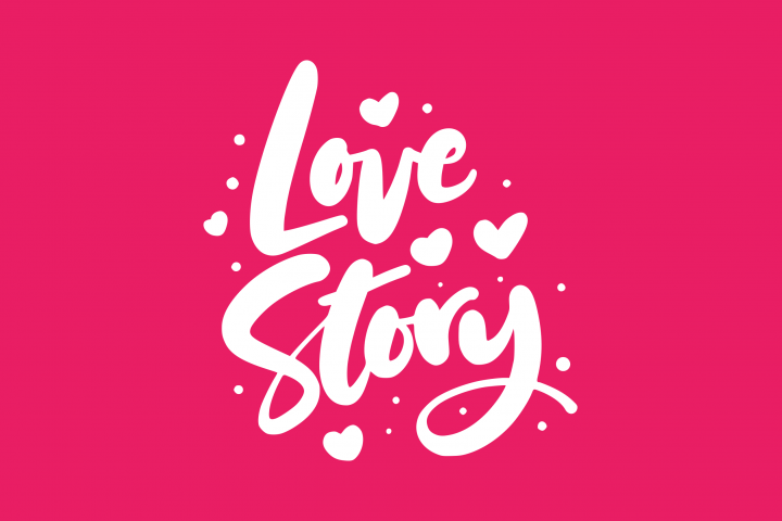 Love Story Handlettering Vector Illustration