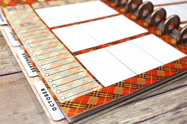 Happy Planner PRINTABLE, Weekly Insert Refill, Fall, Plaid, Woodland, Printable, Planner Printable, 7 x 9.25, Mambi Happy Planner