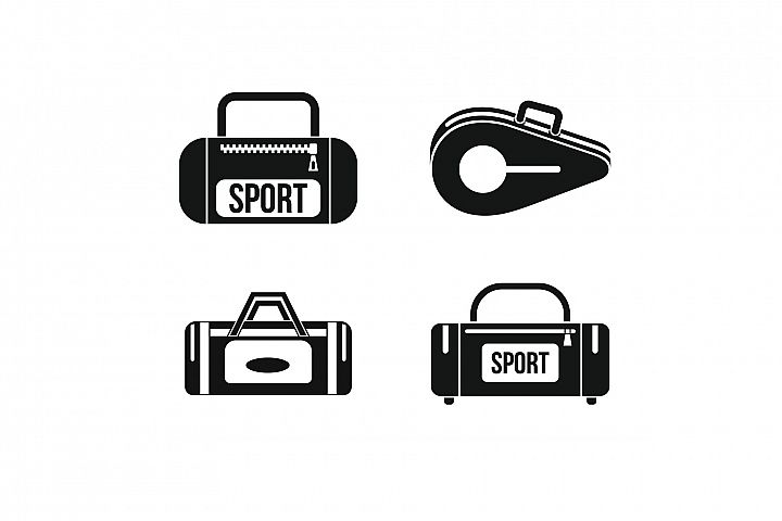 Sport bag icon set, simple style