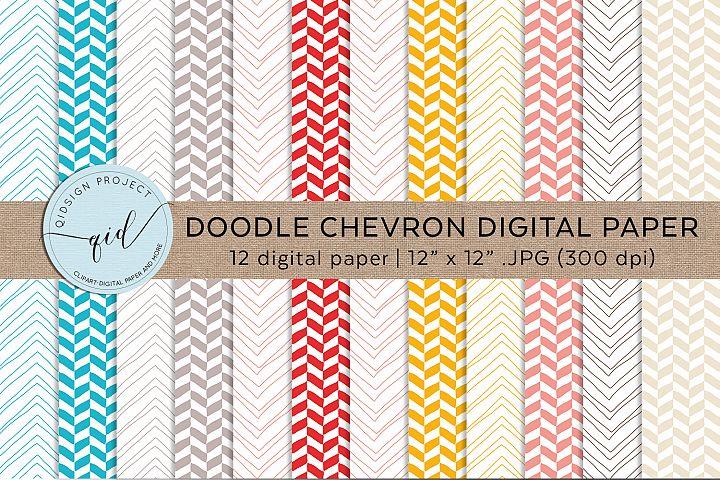 Hand Drawn Chevron Digital Pattern Paper JPG