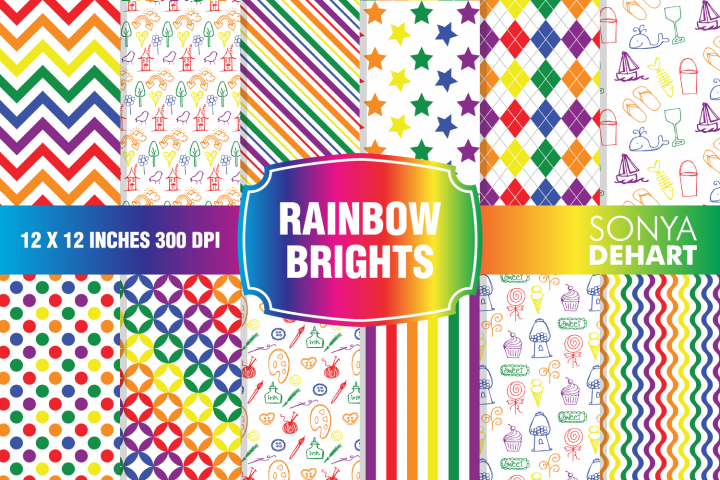Rainbow Bright Digital Paper Pattern Pack