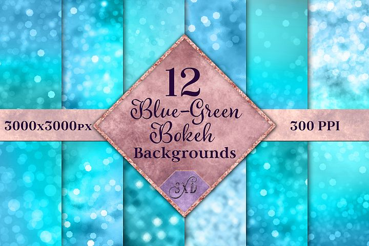 Blue-Green Bokeh Backgrounds - 12 Image Textures Set