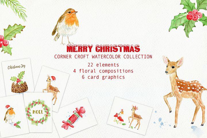 Watercolor Christmas Card Design Kit