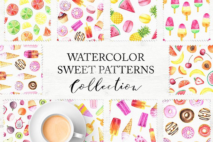 15 Watercolor Sweet Seamless Pattern