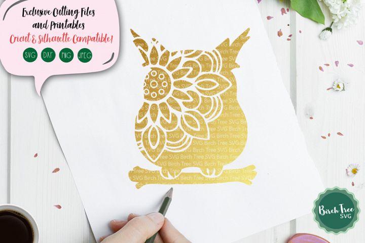 Owl Mandala SVG, Owl SVG, Owl Cut File, Owl Clipart, Stencil
