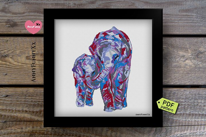Elephant family Cross stitch Pattern Pdf
