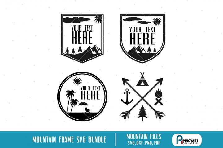 Mountain Frame Bundle, Mountain svg, Summer svg, Explore svg
