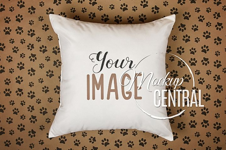 Blank White Square Pet Cat Dog Animal Mockup Pillow JPG