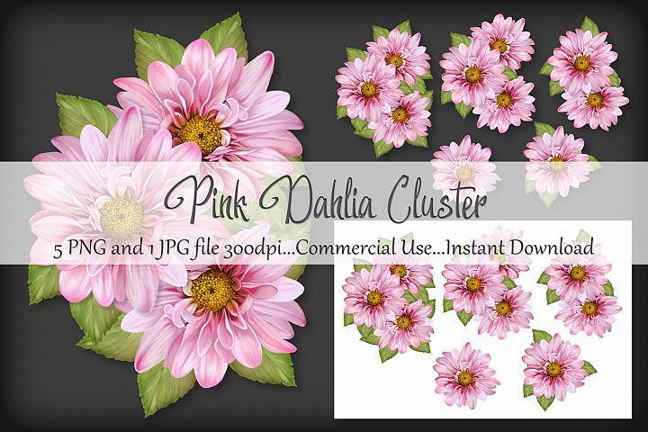 Pink Dahlia Cluster Bouquet Vignette Clipart