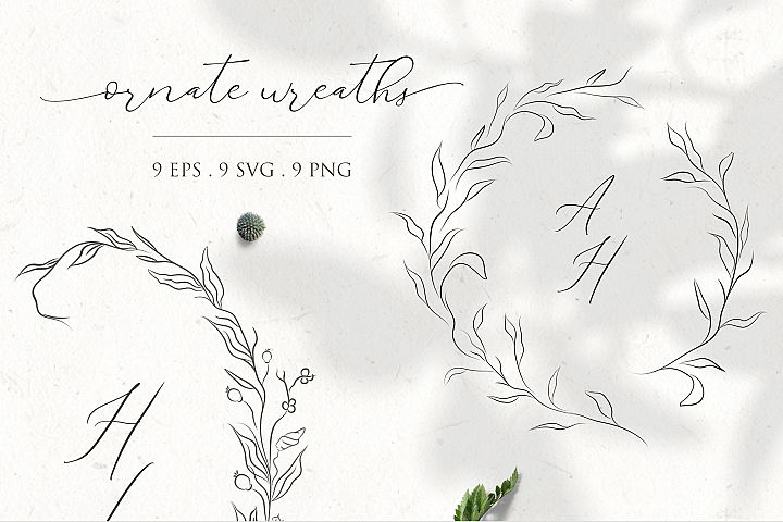 Floral Decorative Ornate Wreaths clipart hand drawn fine art