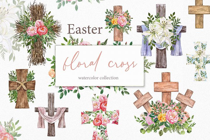 Watercolor Easter Cross Floral Wreath Spring Clipart