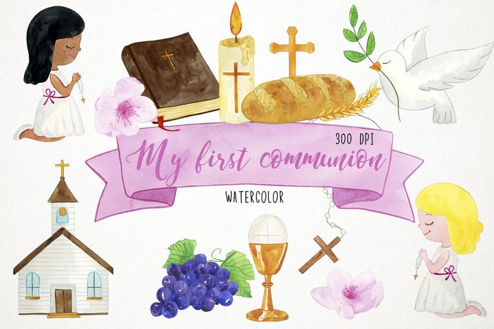 Watercolor First Communion Clipart, First Communion Clip Art