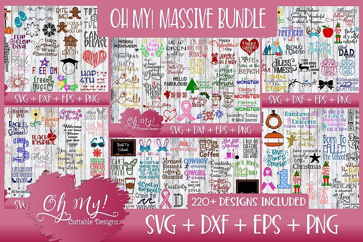 OH MY! MASSIVE BUNDLE SALE OVER 220 DESIGNS SVG DXF EPS PNG
