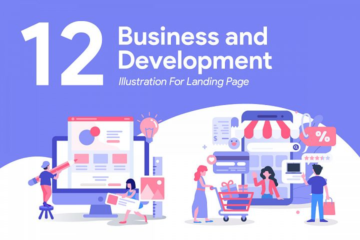 12 Business and Development Illustration for Landing Page