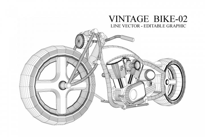 Vintage motor - line vector