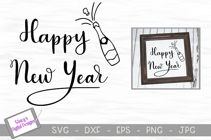 New Year SVG - Happy New Year with champagne, handlettered