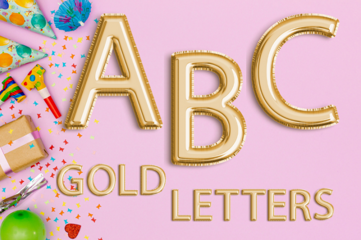 Gold Foil Balloon Letters Clipart, Digital Gold Balloons