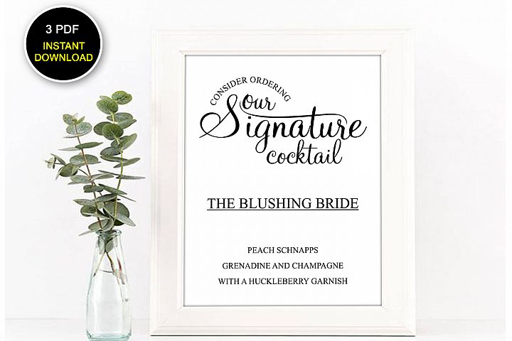 Signature Cocktail Sign Printable, Cocktail Sign, DAD_13