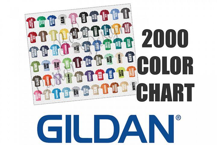 Gildan 2000 Unisex T-Shirt Color Chart