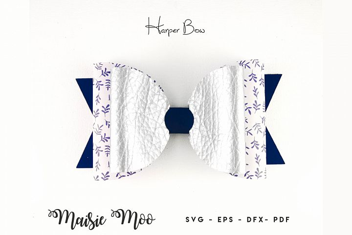 Harper Bow Template SVG, Bow SVG, Hair Bow PDF, Classic Bow,