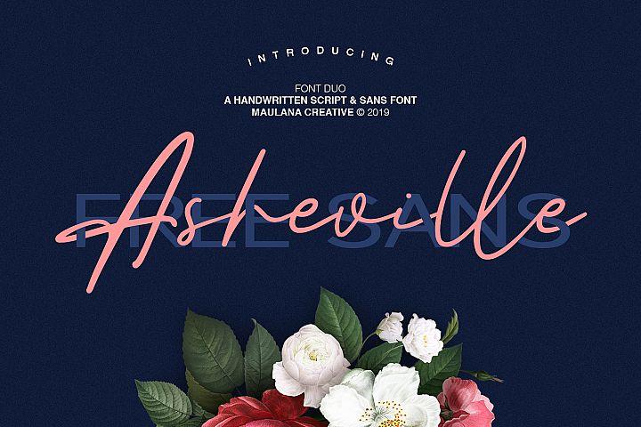 Asheville Script - Free Sans Font