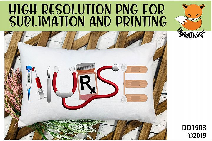 Nurse Word Art Sublimation