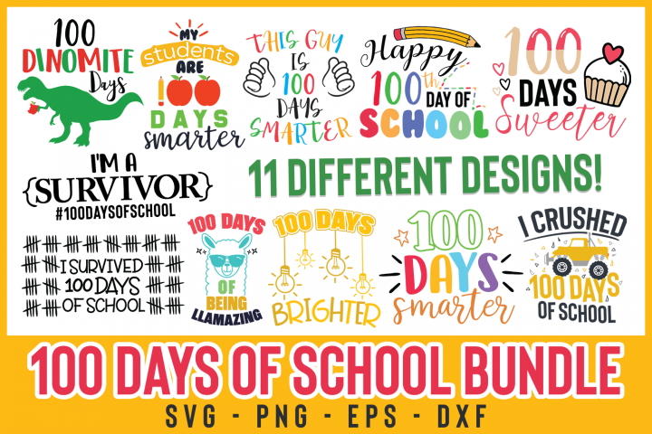 100 Days Of School Bundle cut file, 100 Dinomite Days svg