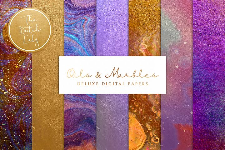 Digital Backgrounds & Papers - Oils & Marbles
