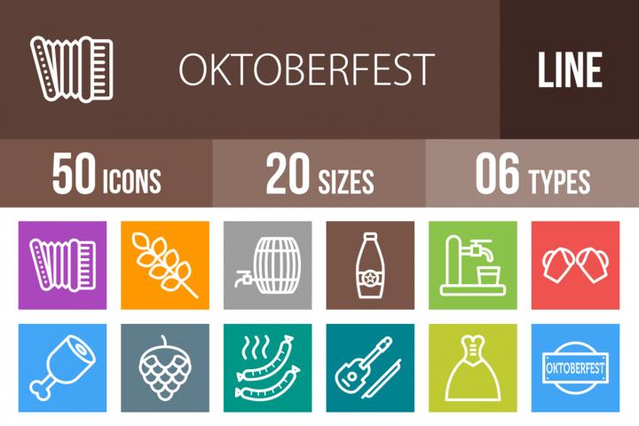 50 Oktoberfest Line Multicolor B/G Icons