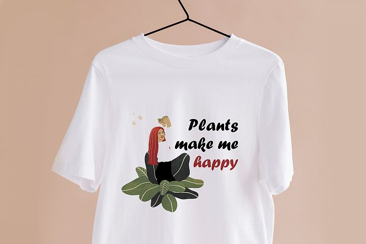 Sublimation PNG clipart witn Crazy Plant Lady for Printing