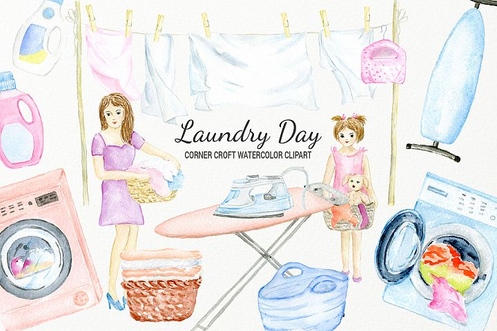 Watercolor laundry day clipart for instant download