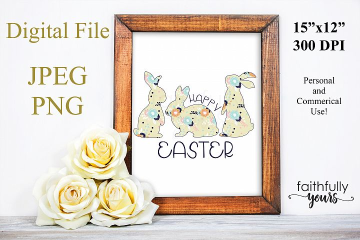 Happy Easter with floral bunnies png jpeg Sublimation Design