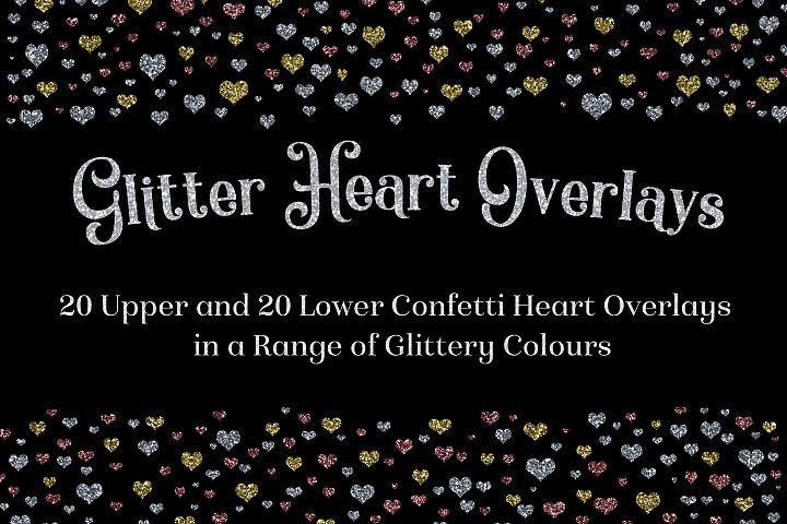 Glitter Heart Overlays Set