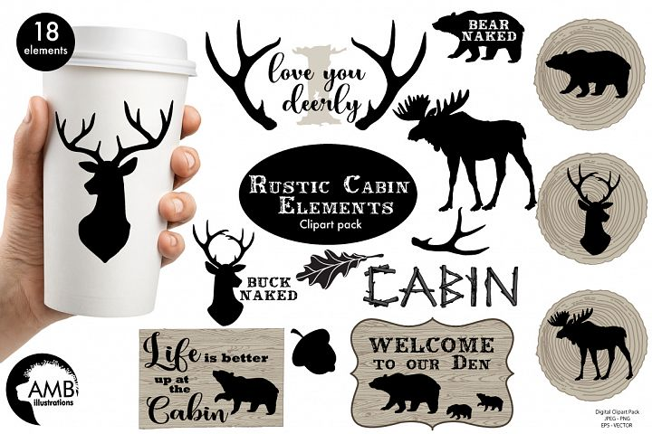 Rustic Cabin Elements,graphic, illustration, clipart AMB-1870