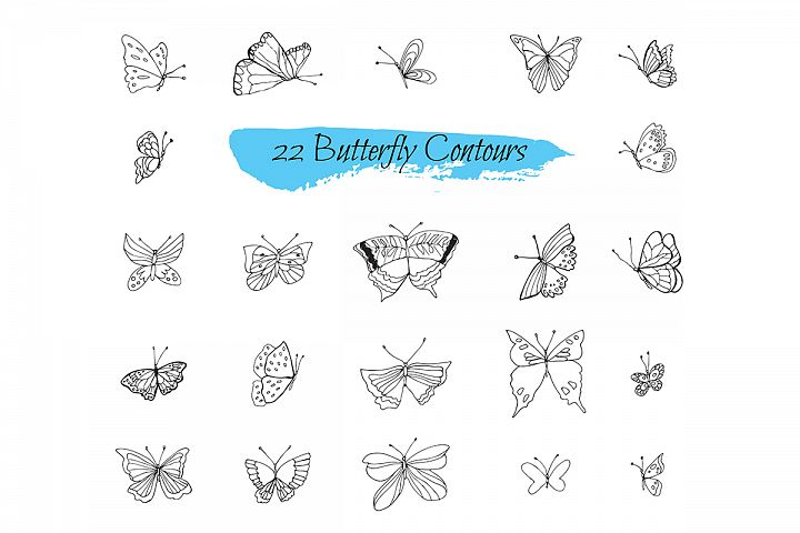 Collection sketches Butterflies