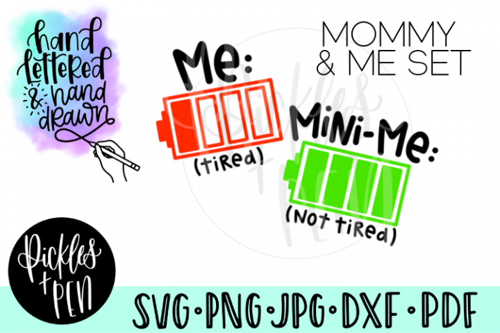 Mommy and Me Battery Tshirt Design Set - Mom SVG