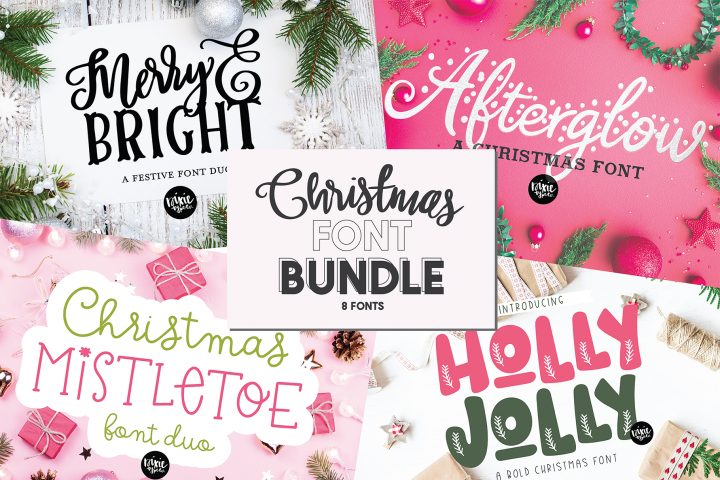 CHRISTMAS FONT BUNDLE - 4 Hand Lettered Christmas Fonts