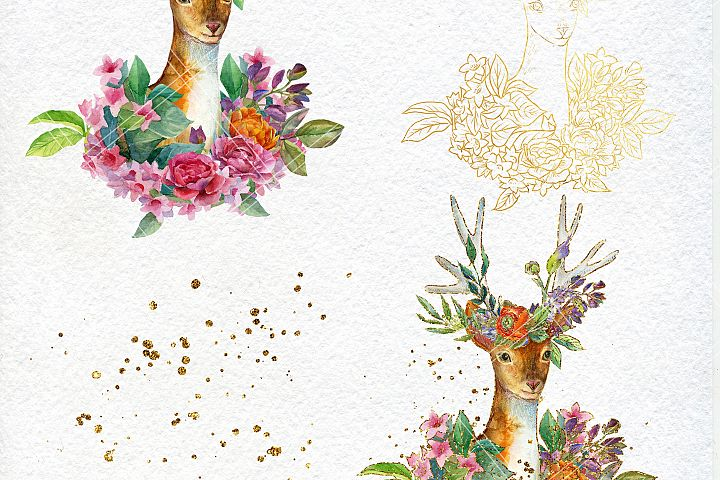 Watercolor floral deer printable clipart, golden graphics example 1