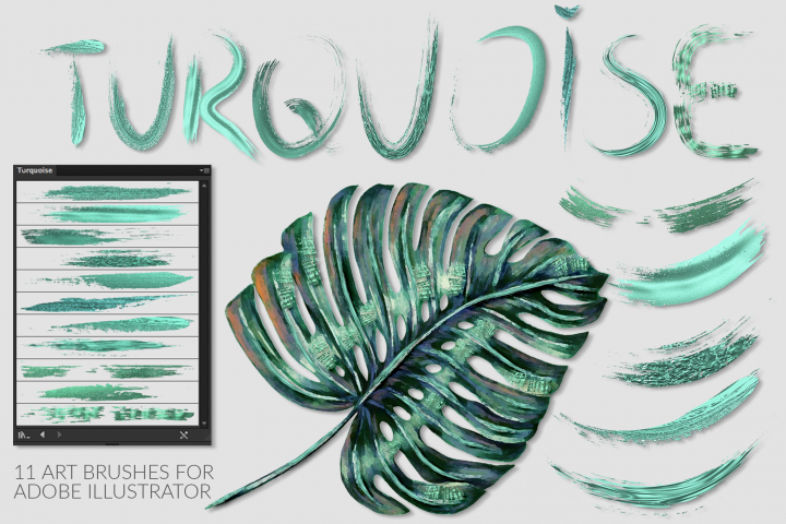 Turquoise Brushes for Illustrator